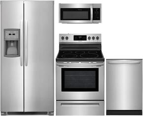 "4-Piece Stainless Steel Kitchen Package with FFSC2323TS 36"" Side by Side Refrigerator, FFEF3054TS 30"" Freestanding Electric Range, FFMV1645TS 30"" Over the Range Microwave, and FFID2426TS 24"" Fully Integrated Dishwasher"