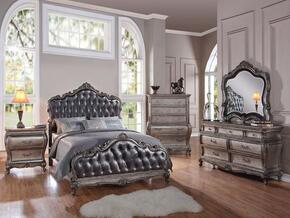 Chantelle 20537EK5PCSET Bedroom Set with Eastern King Size Bed + Dresser + Mirror + Chest + Nightstand in Antique Platinum and Silver Grey Finish