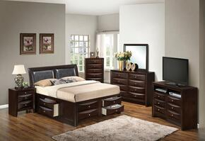 G1525IFSB4DMNCHTV2 6 Piece Set including Full Size Bed, Dresser, Mirror, Nightstand, Chest and Media Chest  in Cappuccino