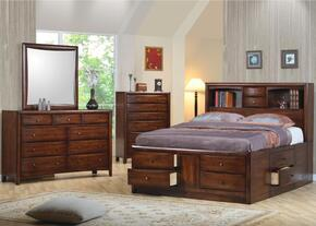 Hillary Collection 200609KESETB 4 PC Bedroom Set with King Size Bed + Dresser + Mirror + Chest in Warm Brown Finish
