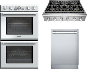 "3-Piece Stainless Steel Kitchen Package with PODC302J 30"" Double Wall Oven, PCG366G 36"" Gas Cooktop and DWHD440MFP 24"" Fully Integrated Dishwasher"