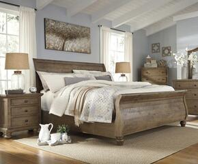 Trishley King Bedroom Set with Sleigh Bed, and Nightstand in Light Brown