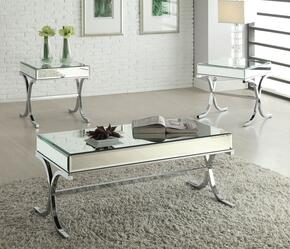 Yuri 81195CET 3 PC Living Room Table Set with Coffee Table + 2 End Tables in Chrome Finish