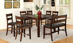 Dickinson II CM3187PT6PCPBN 8-Piece Dining Room Set with Counter Height Rectangular Table, 6 Counter Height Side Chairs and Bench in Dark Cherry Finish