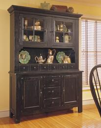 Attic Heirlooms 5397-65BV-66B China Cabinet with Base and Hutch in Antique Black Finish