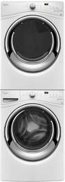 "White Front Load Laundry Pair with WFW7540FW 27"" Washer, WGD7540FW 27"" Gas Dryer and W10869845 Stack Kit"