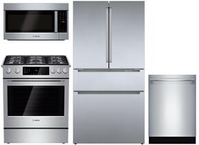 "4 Piece Kitchen package With HGI8054UC 30"" Gas Range, HMV8052U Over The Range Microwave, B21CL80SNS 36"" French Door Refrigerator and SHX53T55UC 24"" Built In Dishwasher In Stainless Steel"
