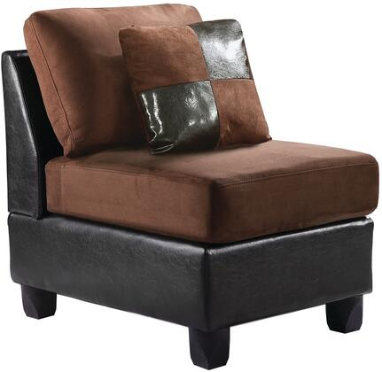 "Glory Furniture 23"" Armless Chair with Tufted Seating, Removable Back, Suede and PU (Bycast) Leather Upholstery in"