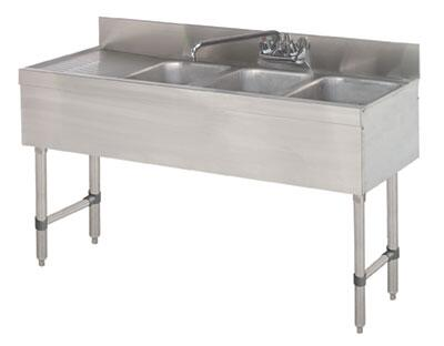 """Advance Tabco SLB-43 Lite Series Three-Compartment Underbar Sink with 4"""" Backsplash, Drainboards and 10"""" Splash Mounted Faucet in Stainless Steel"""