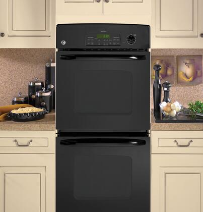 "GE JKP35 27"" Double Electric Wall Oven with 7.6 cu. ft. Oven Capacity, Upper Self-Clean Oven, TrueTemp Upper Oven System, Eight-Pass Bake Element and Electronic Oven Controls"