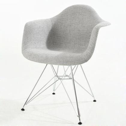 EdgeMod EM223CRMLGR Padget Series Modern Fabric Metal Frame Dining Room Chair