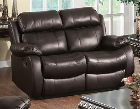 Yuan Tai WE9918LBR Weston Series Leather Loveseat with Wood Frame Loveseat