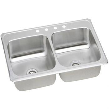 """Elkay CR4322 43"""" Top Mount Self-Rim Double Bowl 20-Gauge Stainless Steel Sink"""