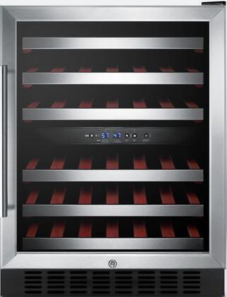 """Summit SWC530LBISTx 24"""" Freestanding or Built In Dual Zone Wine Cooler with 46 Bottle Capacity, Digital Thermostat, Automatic Defrost, Slide-Out Wooden Shelving and Factory Installed Lock, in Stainless Steel with"""