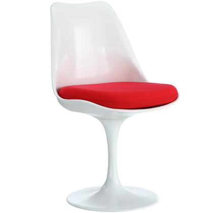 Modway EEI-115 Lippa Dining Side Chair with Modern Design, Aluminum Base, White ABS Plastic Frame and Cloth Cushions
