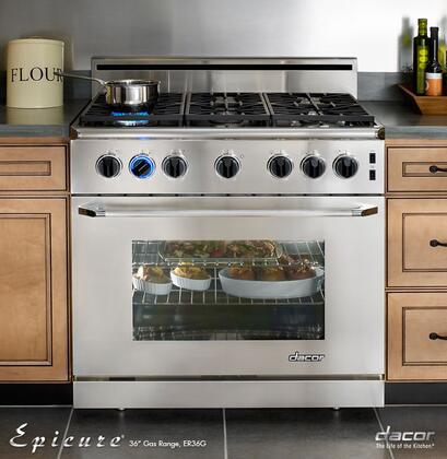 "Dacor ER36GISCH Renaissance 36"" Freestanding Range with Natural Gas, High Altitude, 5.4 cu. ft. Manual Clean, Convection System, Chrome Racks in Stainless Steel, with Chrome Trim and Island Trim"