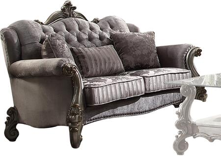"""Acme Furniture Versailles Collection 69"""" Loveseat with Wingback Style, Pillows Included, Nail Head Trim, Arched Backrest, Removable Seat Cushions, Scalloped Base and Velvet Upholstery in"""