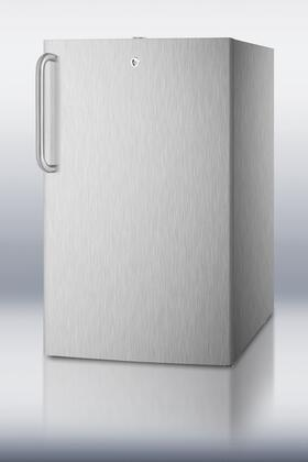 """Summit FF511LADACSS 20"""" Built-in All-Refrigerator with Curved Towel Bar, Full Auto Defrost, Factory Installed Lock, Fully Finished Cabinet, Adjustable Shelves and Adjustable Thermostat,"""