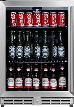 """KingsBottle KBU- 24"""" Beverage Center with x Can Capacity, Temperature Alarm, Automatic Defrost, Security Lock and Tempered Reversible Glass Door with Stainless Steel Trim"""