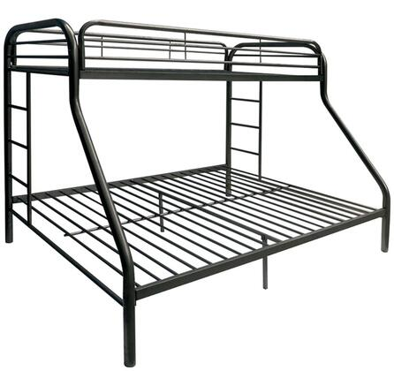 Acme Furniture Tritan Twin/Full Bunk Bed with 2 Built-In Ladders, Metal Tube Construction and Full Length Guard Rails in