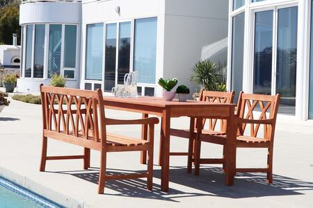 Vifah Malibu Collection PC Outdoor Dining Set with 4-Foot Bench, Rectangular Table, Armchairs, Umbrella Hole and Eucalyptus Hardwood Construction in Natural Wood Finish