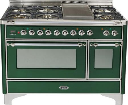 Ilve UMT120FMPVS  Dual Fuel Freestanding Range with Sealed Burner Cooktop, 3.55 cu. ft. Primary Oven Capacity, Warming in Emerald Green