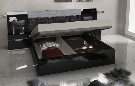 ESF Marbella Collection i1130KQSBED Storage Bed with Wooden Slat Frame and Storage Platform in Black
