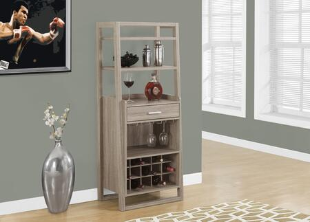 """Monarch I 232Y 60"""" Home Bar with Glass Holders, Bottle Storage and Wine Rack"""