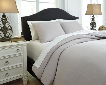 Signature Design by Ashley Bergden Q7340 3 PC Queen Size Duvet Cover Set includes 1 Duvet Cover and 2 Standard Shams with Solid Design, Linen Face and Cotton Back Material in Color