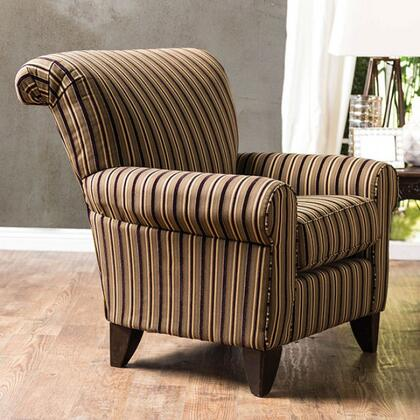 """Furniture of America Arklow Collection SM124X-CH 37"""" Chair with Pattern Fabric Upholstery, Tapered Legs and Rolled Arms in"""