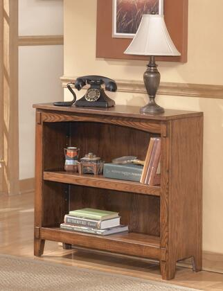 Signature Design by Ashley Cross Island H319-1X Bookcase with Adjustable Shelves, Tapered Legs and Arched Opening on Top in Medium Brown Finish