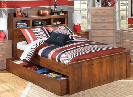 Signature Design by Ashley B228BCHDBDTRUNDLE Barchan Collection x Size Bookcase Headboard Panel Bed with Trundle and Timber Cherry Grain in Warm Brown