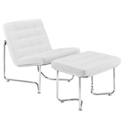 Modway EEI-262 Gibraltar Lounge Chair with Modern Design, Button Padded Vinyl Cushions, and Polished Stainless Steel Base