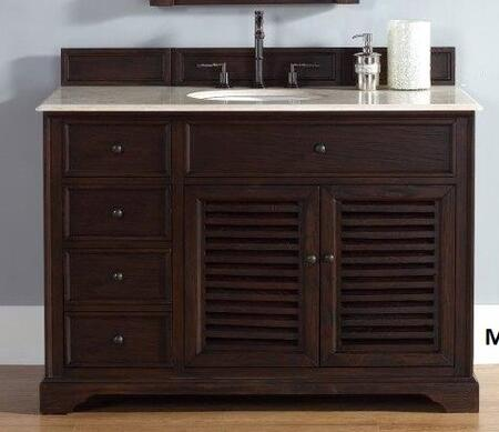 "James Martin Savannah 2381045231M 48"" Single Vanity with 1 Shelf, 2 Doors, 3 Drawers, 1 Sink Included, Antique Iron Hardware, Marble Top and Solid Kiln-Dried Grade A Hardwood in Sable Color"
