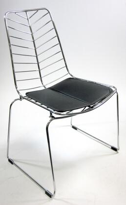 Fine Mod Imports FMI2014BLACK Wire Series Armless Leather Polished Steel Frame Accent Chair