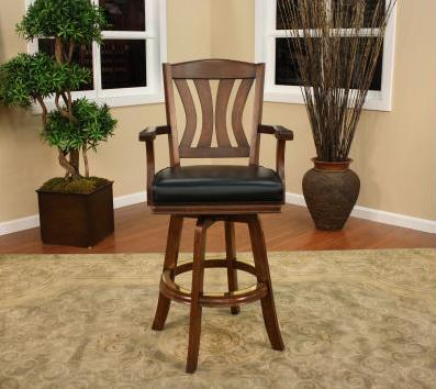 "American Heritage Bradbury Series 100626 30"" Traditional Bar Stool With 4"" Cushion, Padded Back, Decorative Footrest, Full Swivel, and Floor Glides"
