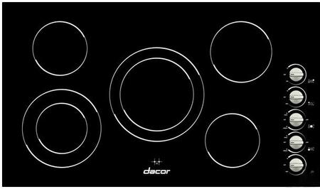 "Dacor DECT3XB XX"" Smoothtop Electric Cooktop With 5 Radiant Elements, Frameless Ceramic Glass Top, Dual Ring Elements, Brushed Metallic Knobs, Multi-Directional Controls, In Black"