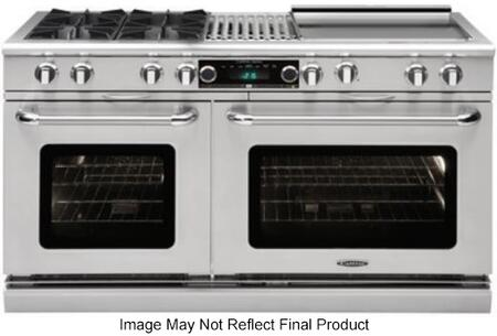 "Capital COB604 60"" Connoisseurian Series Dual Fuel Range with 6 Burners, Self Clean Ovens, Dual Air-Flow Convection, Moist Cooking and Meat Probe, in Stainless Steel with Liquid Propane"