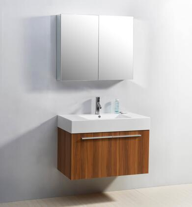 "Virtu USA JS-50136-XX Midori 36"" Single Sink Bathroom Vaniety with Polymarble Top and Integrated Basin, 2 Doors, PS-103 Faucets and in X Finish with 36"" x 26"" Mirrored Cabinet"