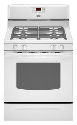 """Maytag MGR7665WW 29.875"""" Gas Freestanding Range with Sealed Burner Cooktop, 5.0 cu. ft. Primary Oven Capacity, Storage in White"""