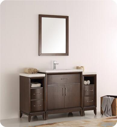 "Fresca Cambridge Collection FVN21-123012 54"" Traditional Bathroom Vanity with Mirror, 2 Soft Close Doors, Tapered Legs, Integrated Ceramic Sink & Countertop and 2 Side Cabinets in"