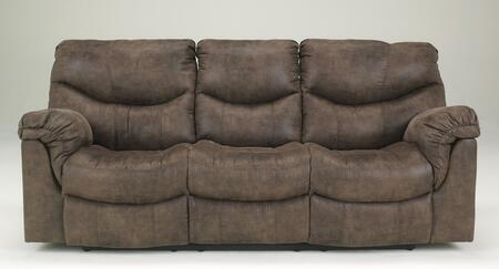 Signature Design by Ashley Alzena 714008X X Reclining Sofa with Faux Leather Upholstery, Thick Padded Arms and Divided Back Cushions in Gun Smoke