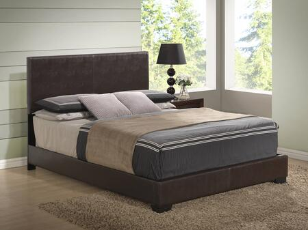 Global Furniture USA 8103-X-BED Size Panel Bed with PU Upholstery, Low Profile, Block Feet and Clean Line Design in