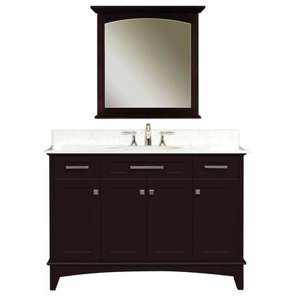 Water Creation MANHATTANC Single Sink Bathroom Vanity with 2 Story Shelf Inside Cabinet, Matching Mirror, White Marble Countertop and Brushed Nickel Door Hardware in Espresso
