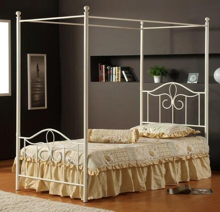 Hillsdale Furniture 1354 Westfield Canopy Bed with Rails Not Included, Arched Design, Scrollwork, Tubular Steel and Cast Aluminum Construction in Off White Finish