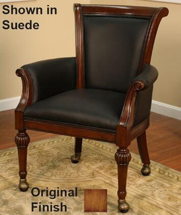 American Heritage 10076 Rocco Series Gathering Chair with Porter Brown Leather Upholstery, Wide Seat, Opulent Scrolling Arms and Bronze Casters: