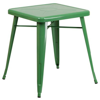 "Flash Furniture 27.75"" Outdoor Table with 2"" Thick Edge Top, Galvanized Steel Construction, Square Shape, Protective Rubber Floor Glides and Powder Coat Finish"