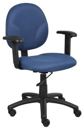 """Boss B9091 32"""" Mid Back Task Chair with Adjustable Arms, Contoured Back and Seat, Extra Large Seat and Back Cushions, and Pneumatic Gas Lift Seat Height Adjustment"""