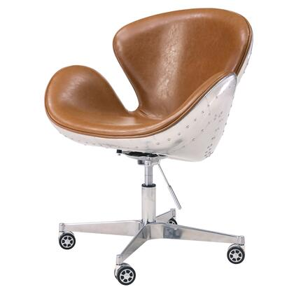 New Pacific Direct Template: Duval Collection 633035P-D2-AL PU Swivel Office Chair with Aluminum Frame in Distressed Java