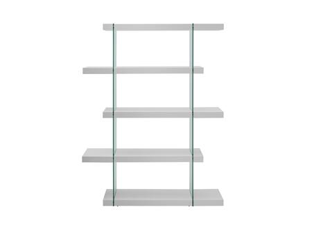 """Casabianca Il Vetro Collection 55"""" Bookcase with 4 Shelves, Glass Panels and Medium-Density Fiberboard (MDF) Materials in"""
